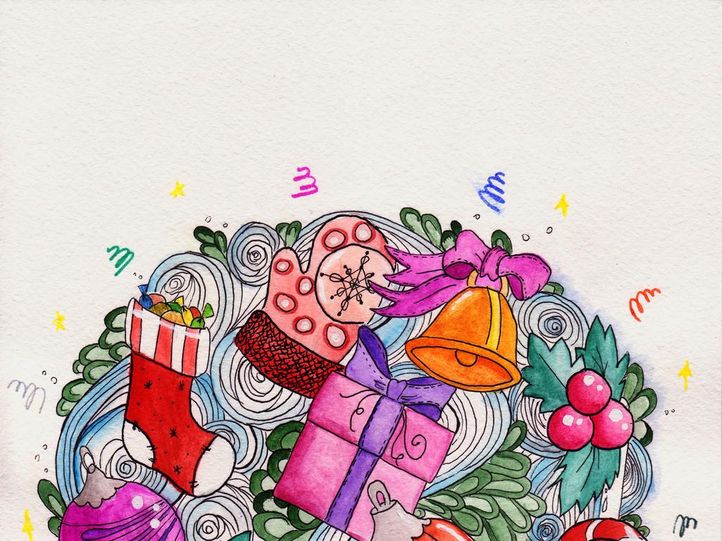 海报设计 创意海报 国外创意海报 > 手绘文艺水彩卡通圣诞节新年活动