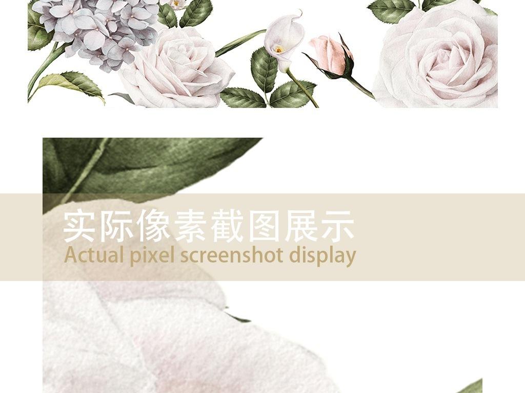 复古白玫瑰丁香花手绘背景墙