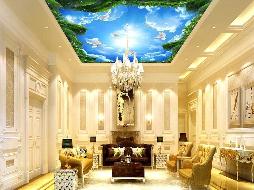 酒店大堂壁画吊顶宾馆吊顶天顶画卧室背景墙客厅吊顶图片