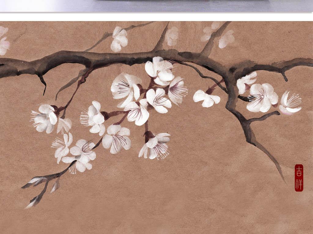 背景墙|装饰画 电视背景墙 中式电视背景墙 > 手绘素雅梅花梅树壁画图片