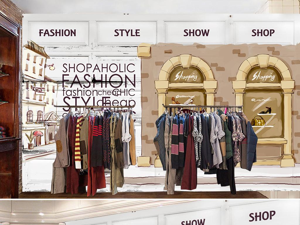 复古风格欧式风格女装店背景墙st yle时装店时尚服装时尚女人美复古图片
