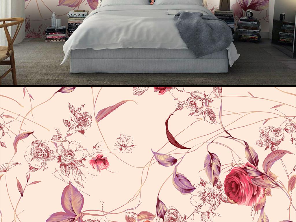 简约手绘花卉背景墙
