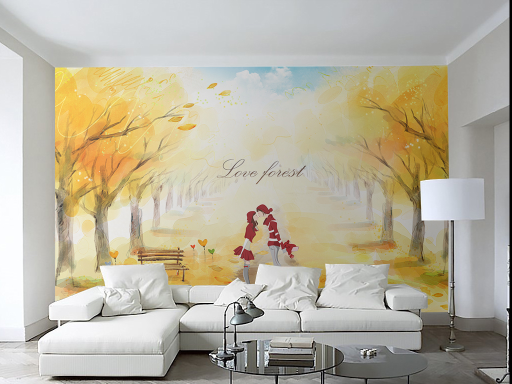 简约手绘枫树林情侣背景墙