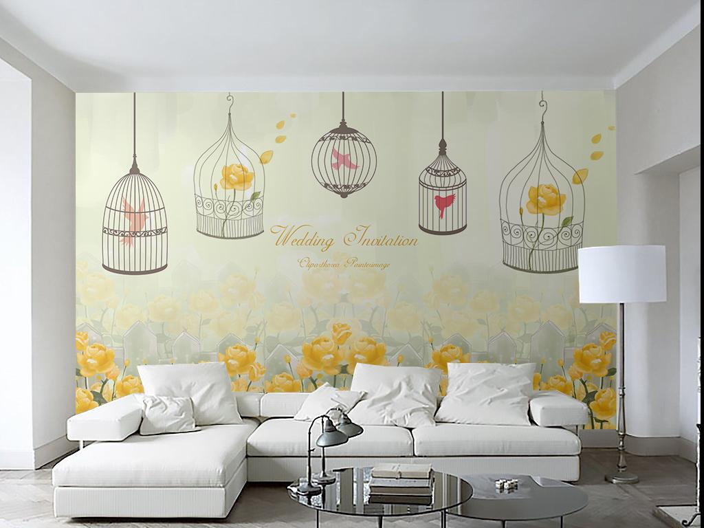 手绘黄色花草向日葵小清新复古壁画壁纸墙纸北欧欧式