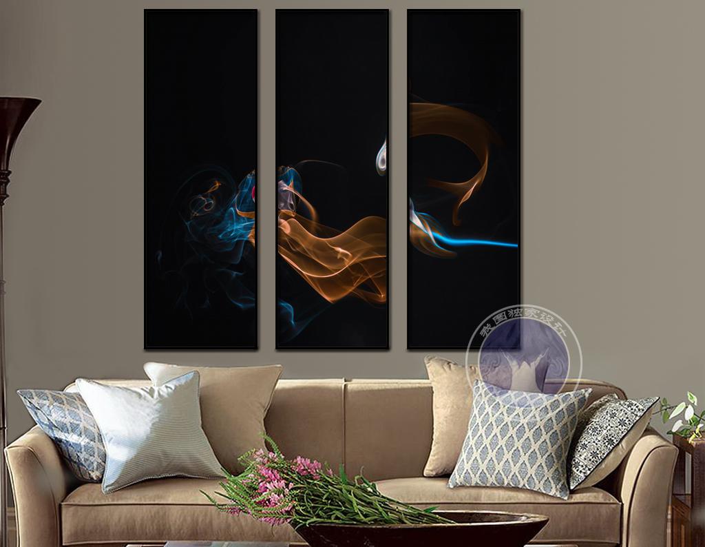 欧式抽象烟雾星空蓝光橙光渐变色三联装饰画