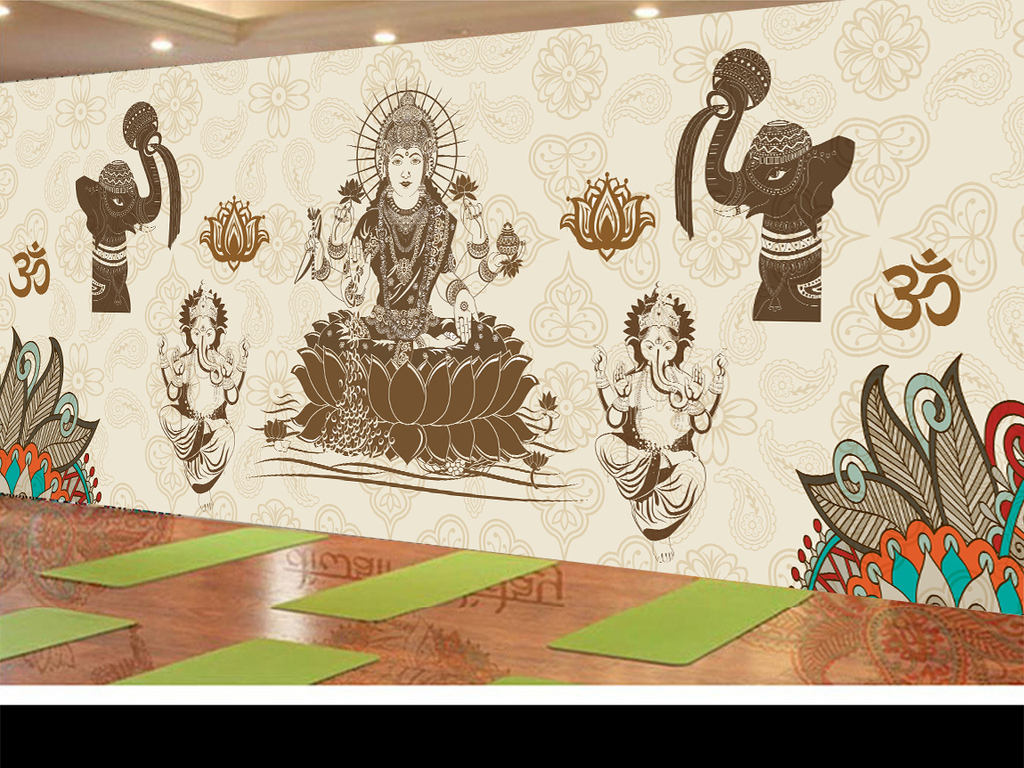 印度舞蹈瑜伽佛像背景墙