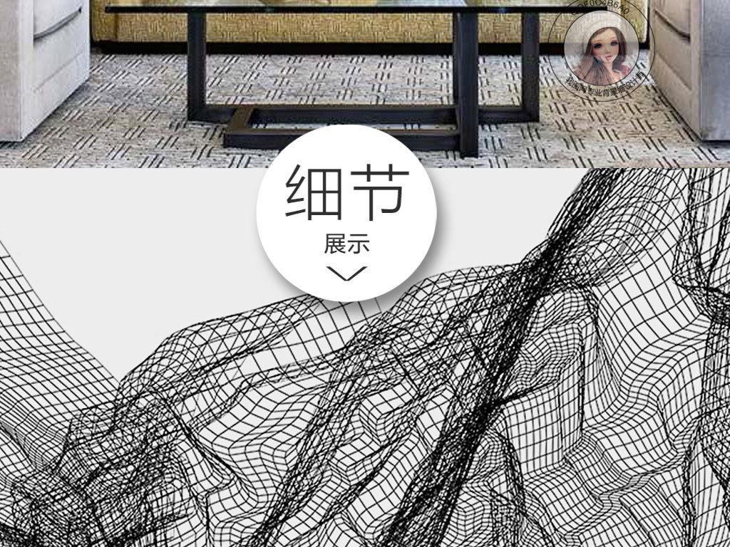 抽象创意黑白线条艺术图案无框画