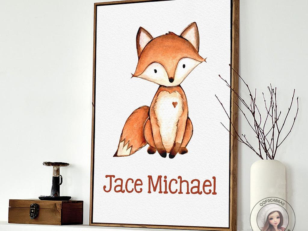 背景墙|装饰画 无框画 动物图案无框画 > 简约手绘小清新狐狸图案无框