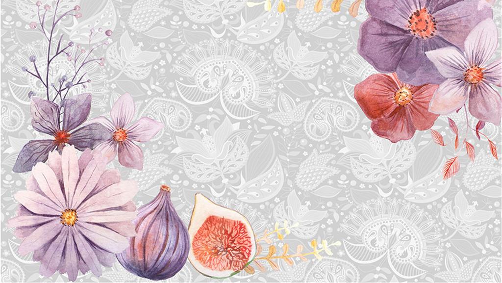 手绘花朵背景墙