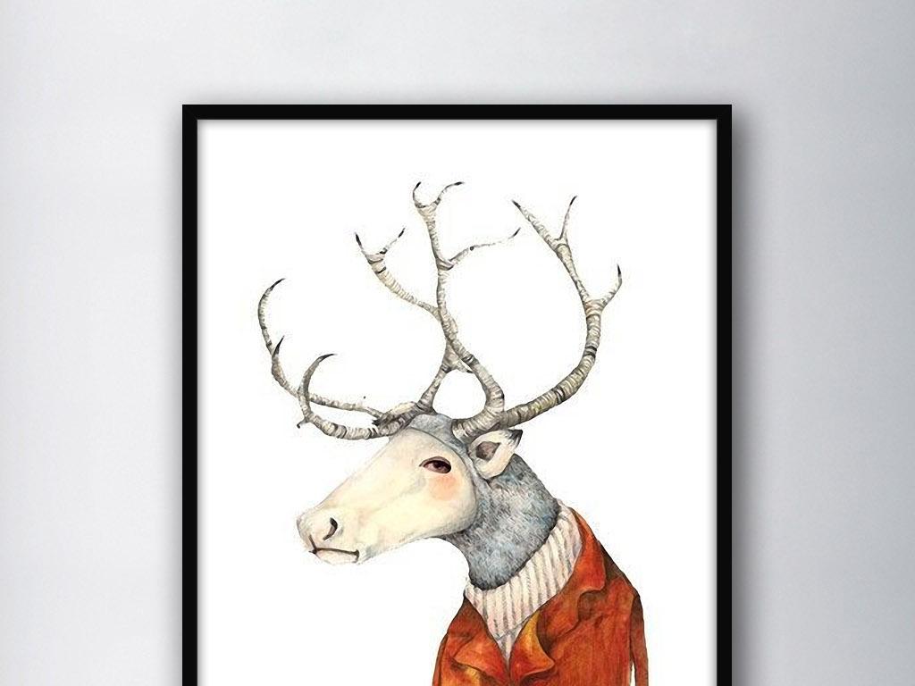 麋鹿北欧简约拟人化现代欧式室内客厅装饰画