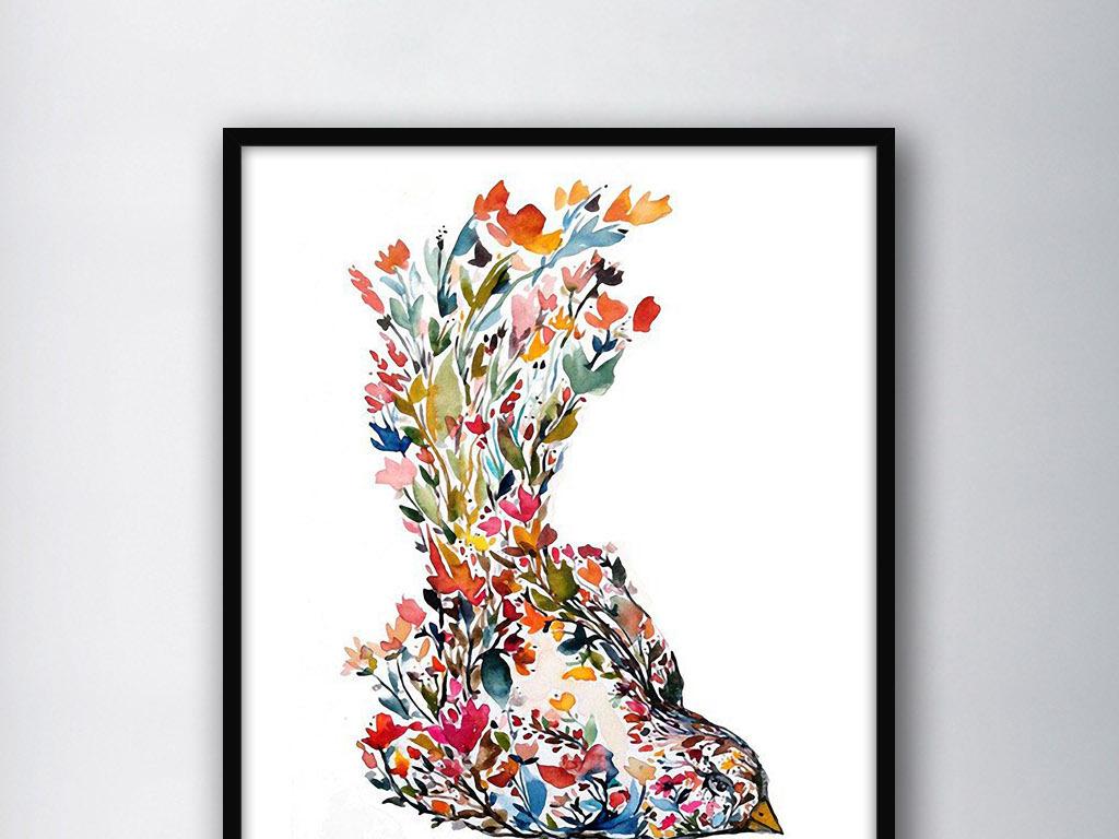 无框画 动物图案无框画 > 飞鸟抽象北欧现代创意小清新欧式家居装饰画图片