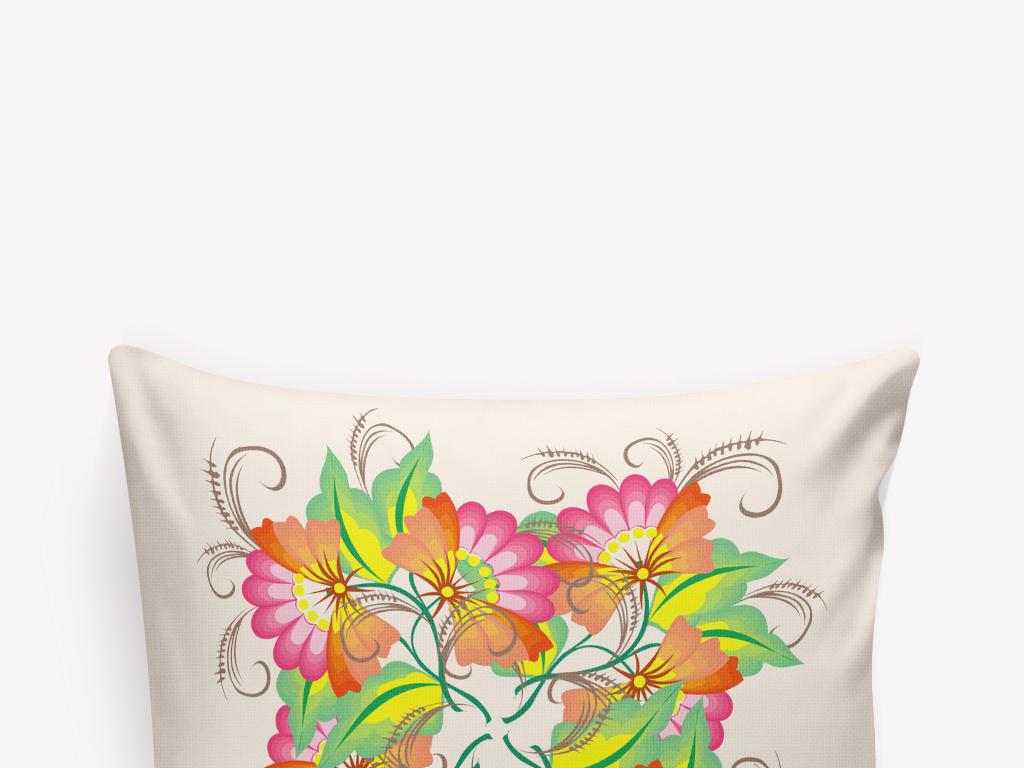 抱枕图案植物花卉传统花卉简笔画