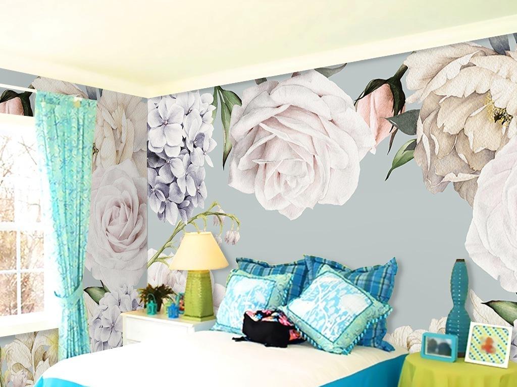 复古白色花卉手绘背景墙