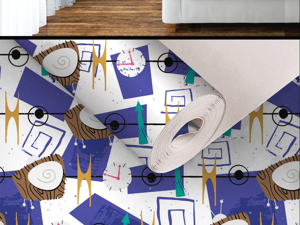 现代简约手绘个性无缝墙纸