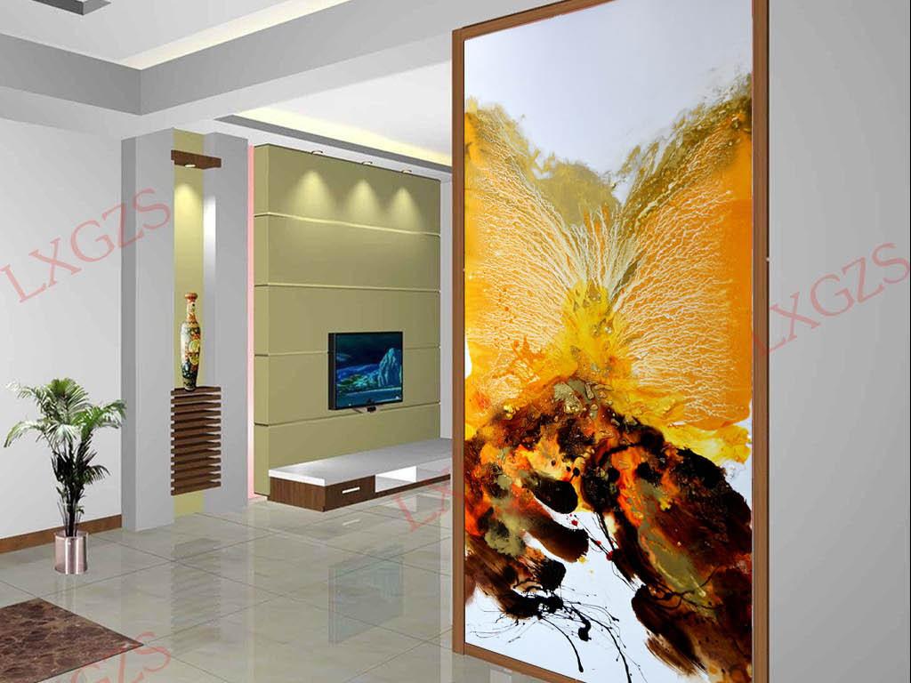 手绘新中式玄关客厅装饰画餐厅装饰画抽象玄关黄色