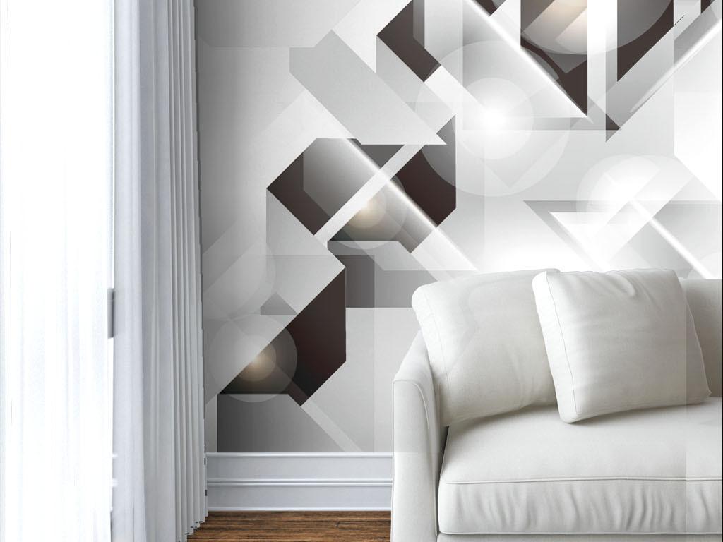现代黑白立体几何墙纸
