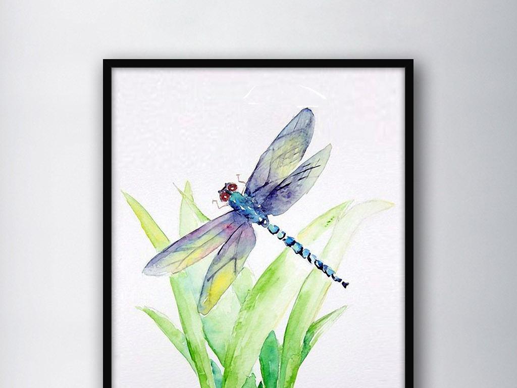 蜻蜓和绿草北欧简约手绘欧式现代家居装饰画