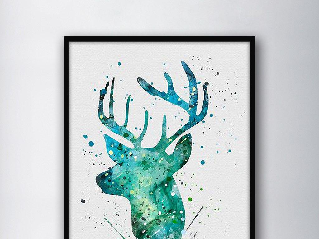 手绘麋鹿图片唯美正面