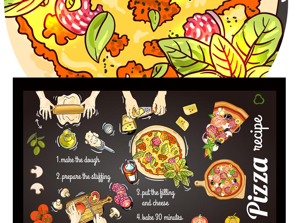 手绘卡通披萨美食店奶茶店背景墙