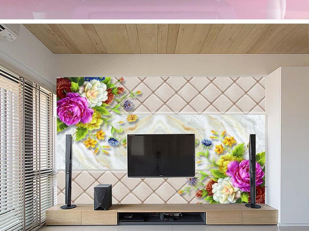 软包大理石花朵电视背景墙
