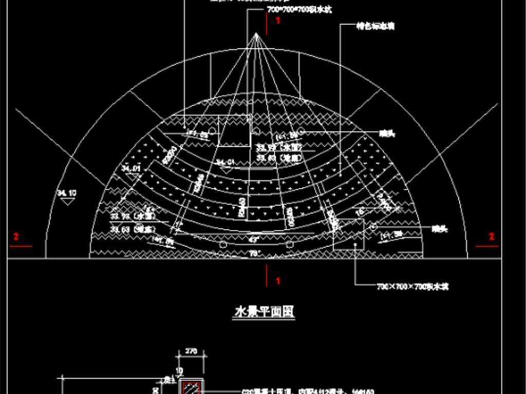 cad图库 室内设计cad图库 园林cad图纸  > 水池景墙剖面立正面图节点