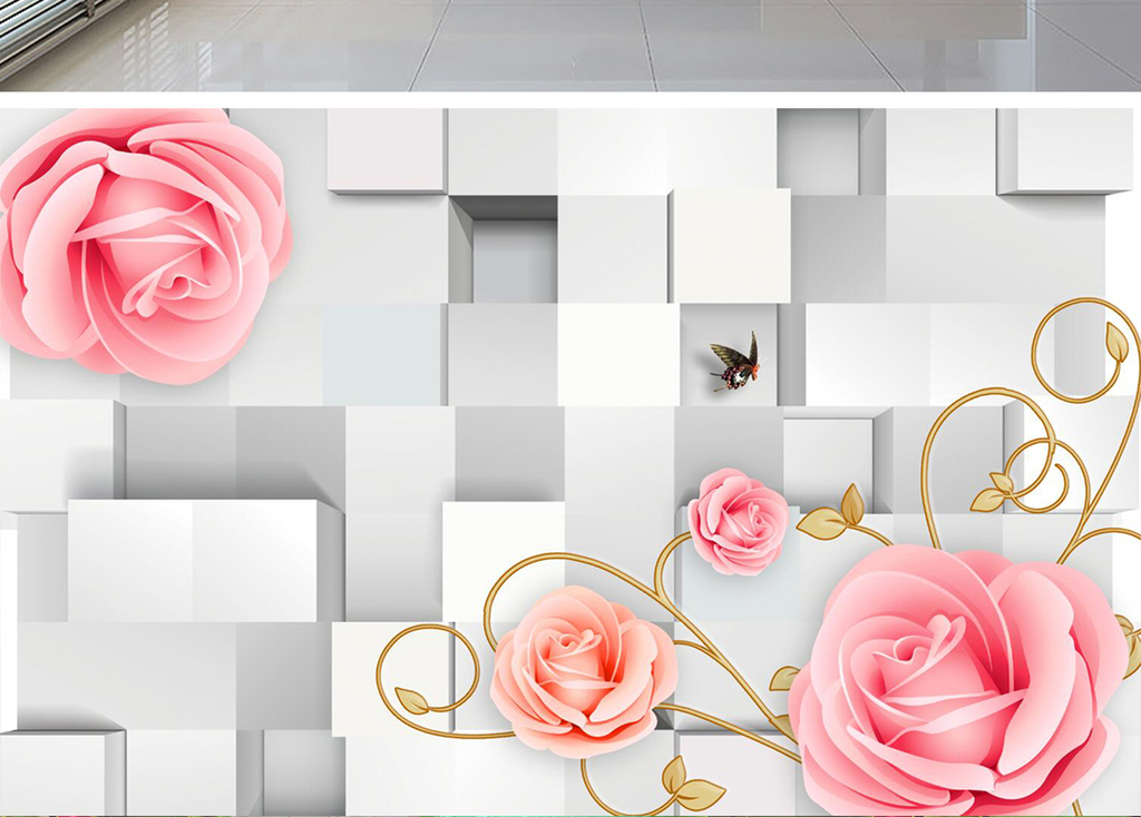 3d立体方块玫瑰花电视背景墙