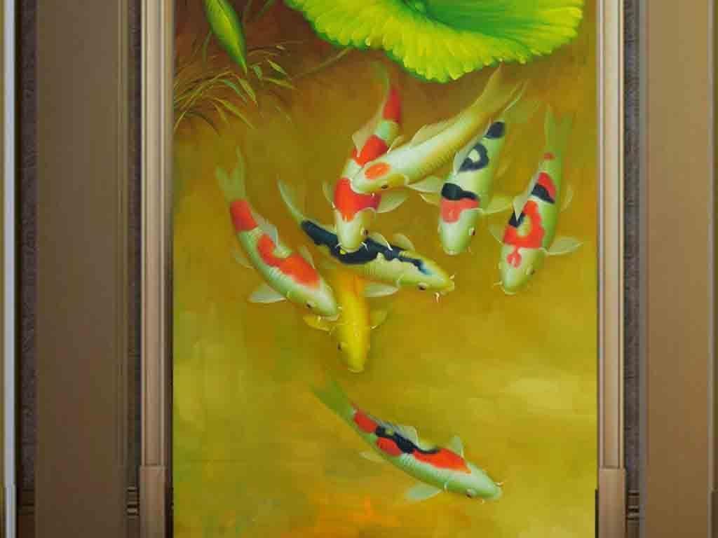 唯美手绘九鱼图油画玄关背景