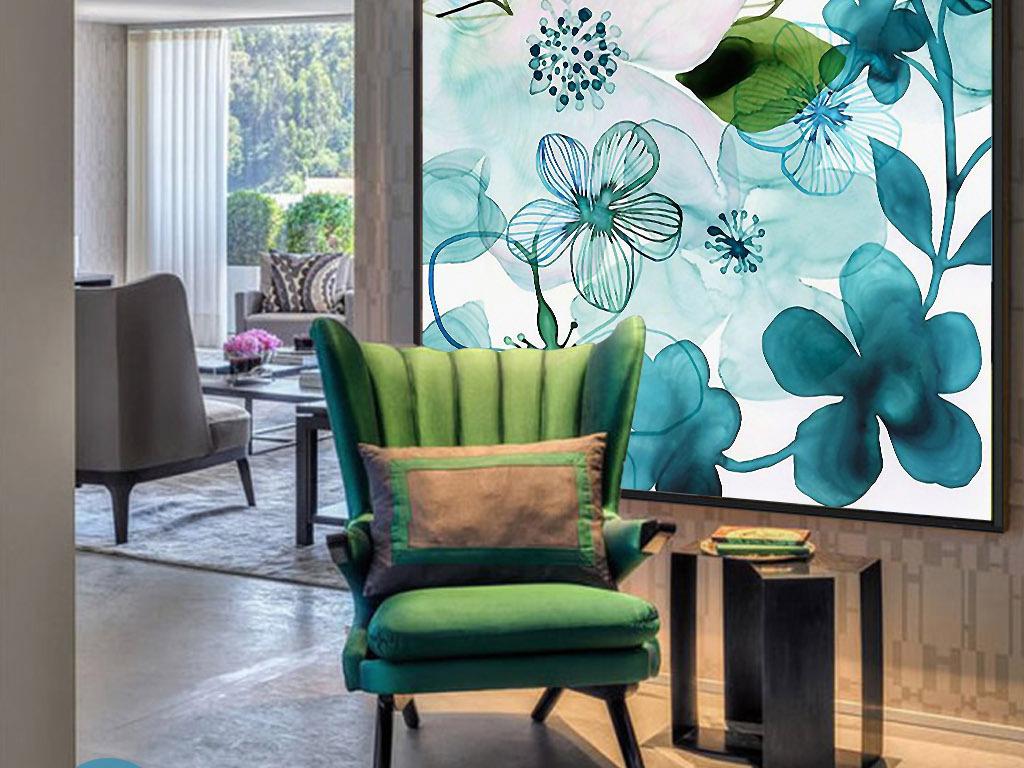 地中海风格花卉手绘水彩欧式现代家居装饰画