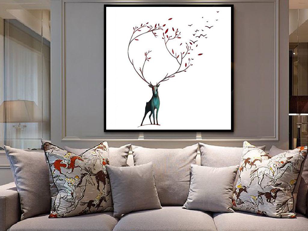 水彩画无框画挂画画芯图片麋鹿花瓣家居欧式现代飘
