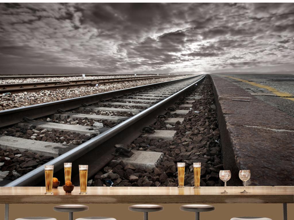 复古怀旧铁路铁轨个性酒吧背景墙壁纸墙纸