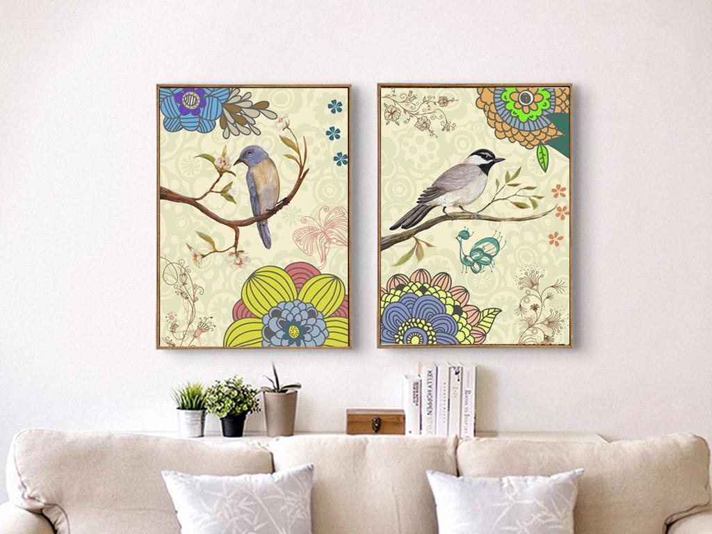 北欧美式报喜鸟玄关餐厅沙发背景墙二联装饰画图片