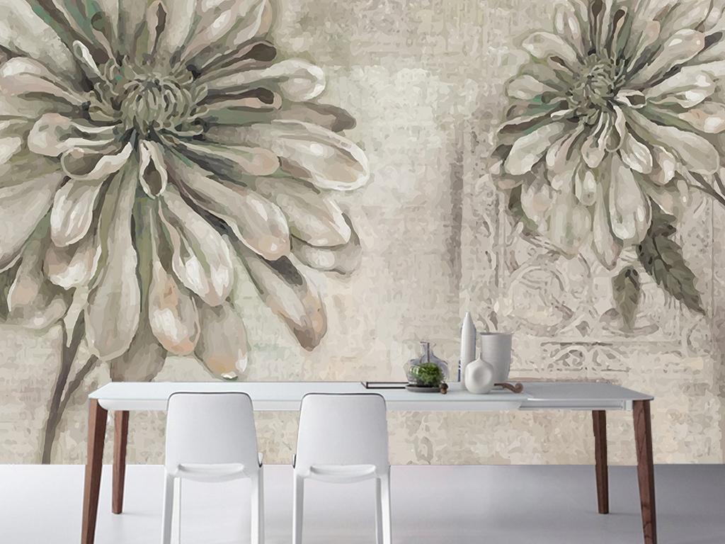 手绘复古欧式大花客厅电视背景墙图片