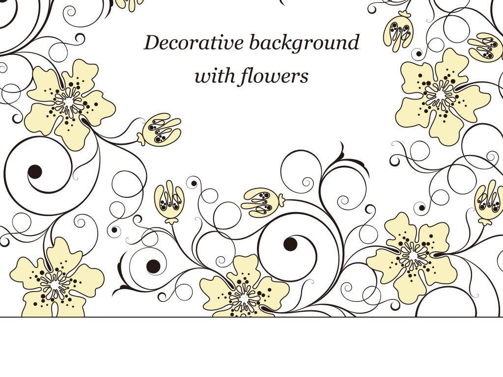 怀旧手绘水彩花朵花纹矢量图