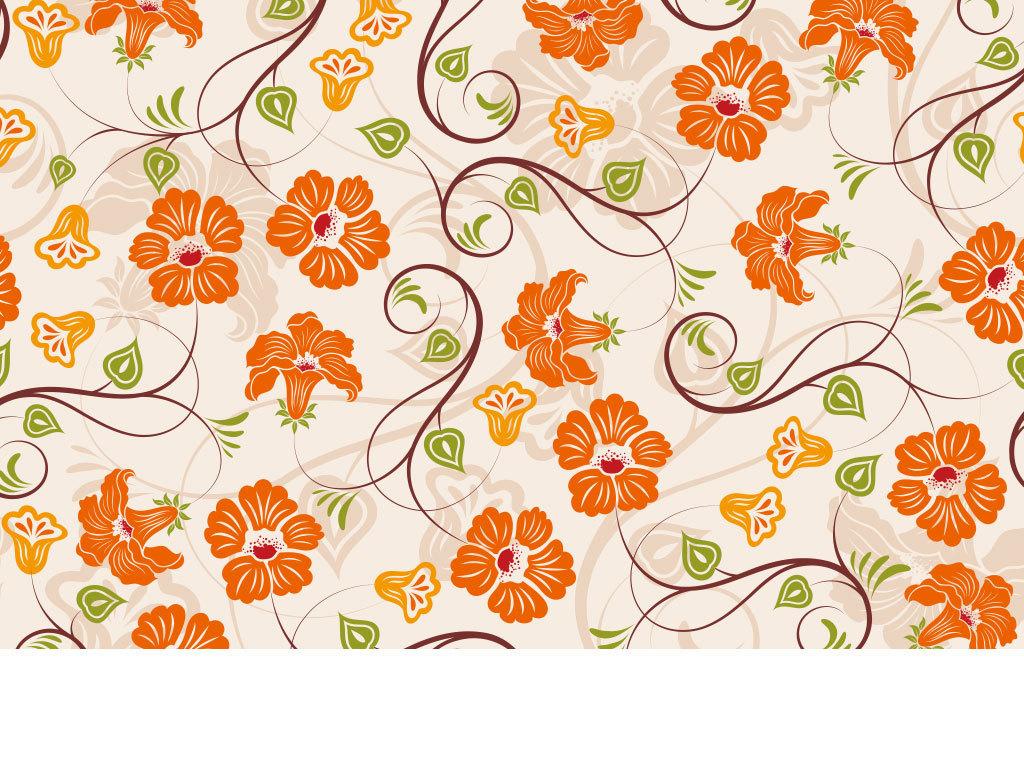 手绘彩色花朵花纹底纹矢量图