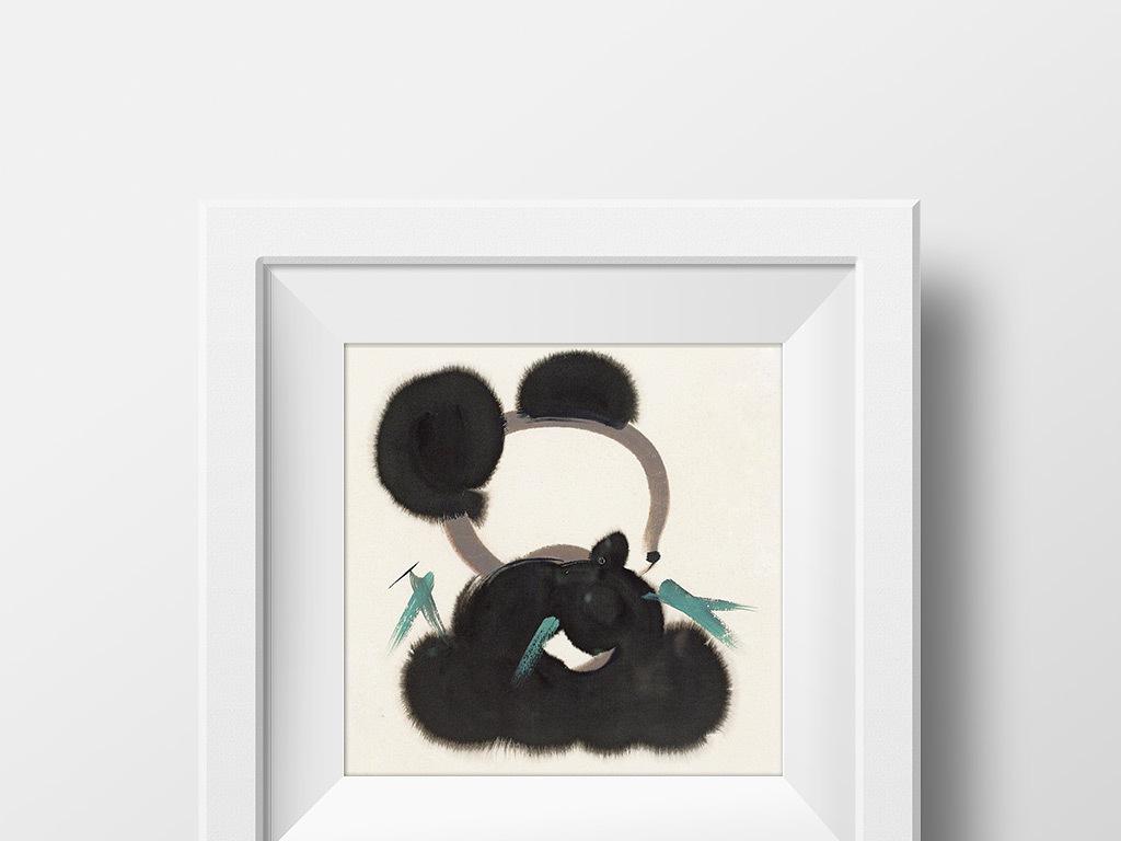 抽象水墨画黑白装饰画熊猫吃竹子图片