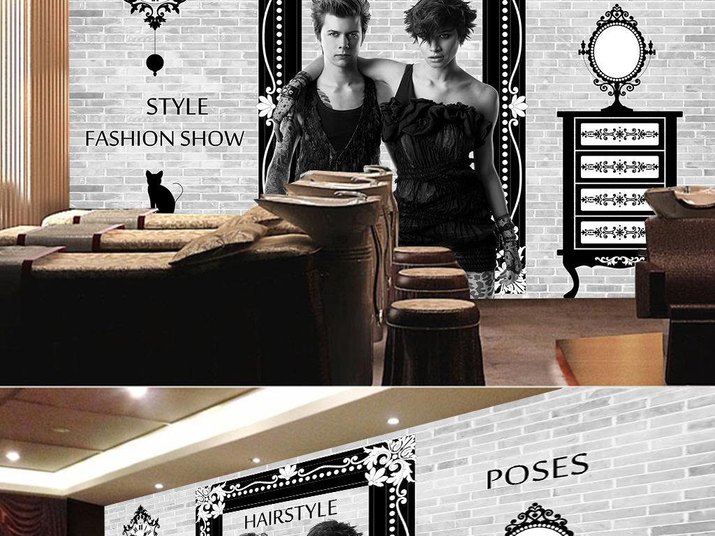 工业风美发店手绘墙画