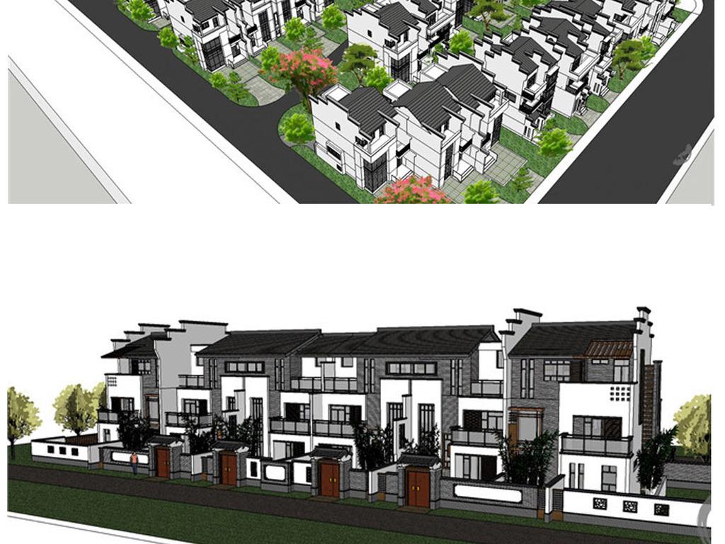 商业街城市规划毕业设计草图大师sketchup中式徽派中式建筑中式徽派图片