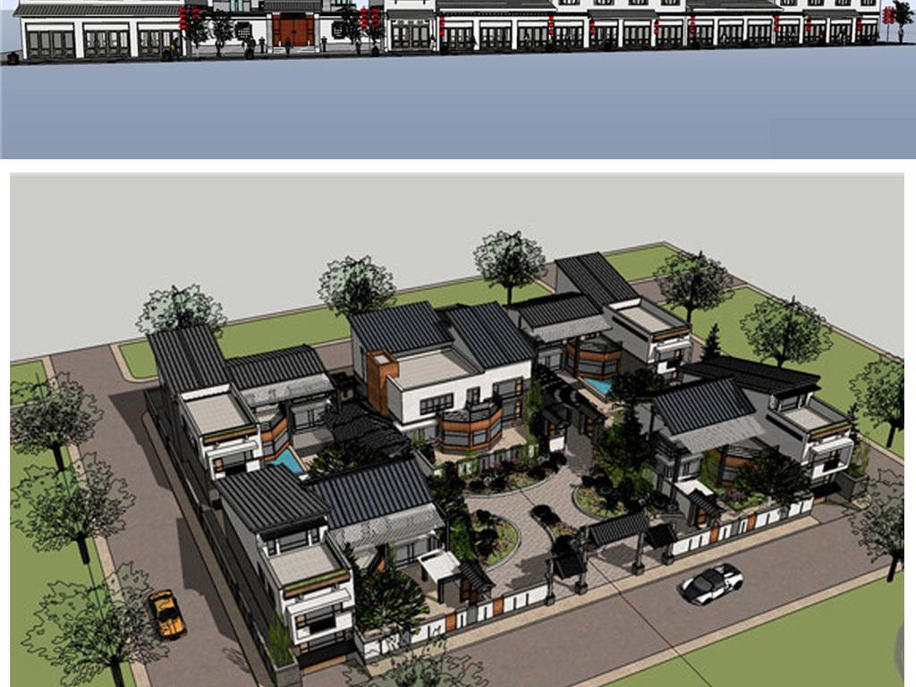商业街城市规划毕业设计草图大师sketchup中式徽派中式建筑中式徽派建图片