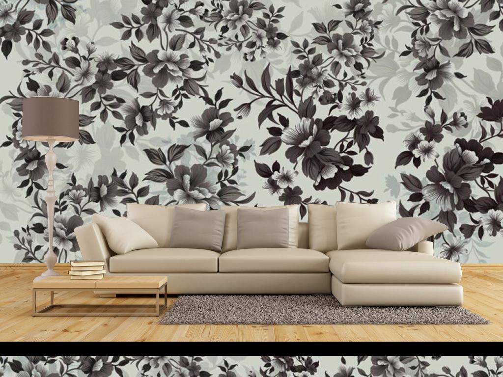 现代简约花纹背景墙