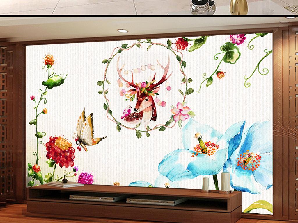 简约小清新花卉手绘小鹿水彩欧式电视背景墙
