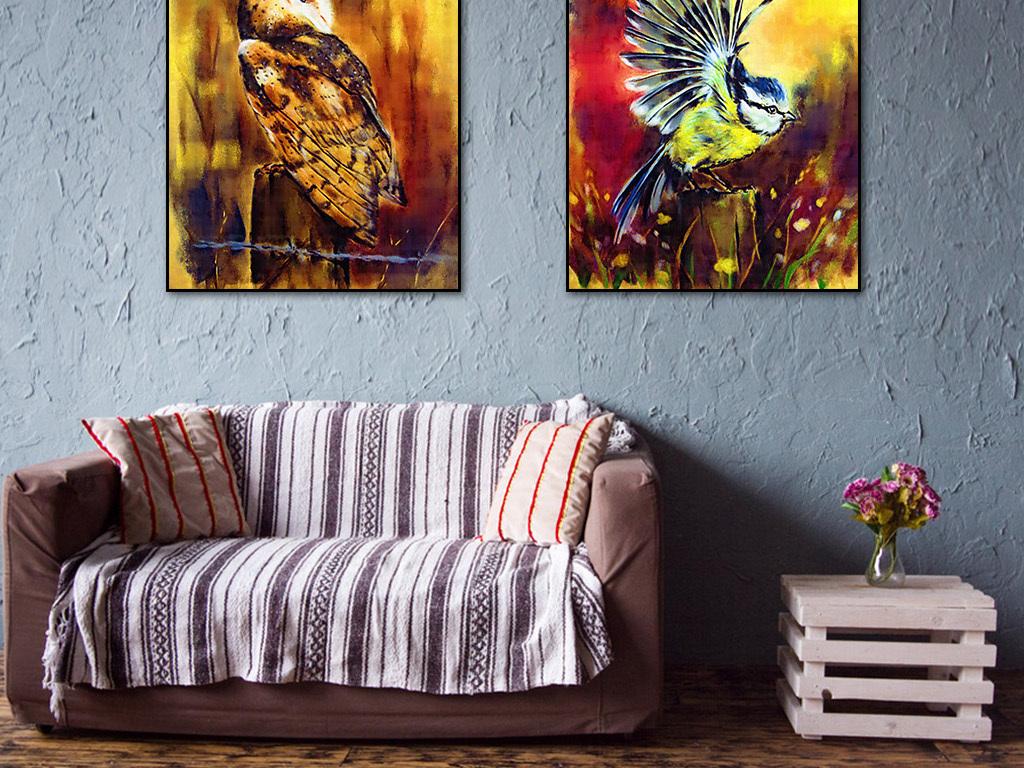 手绘秋天的鸟装饰画