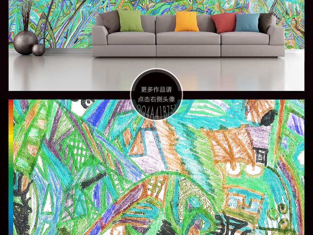 树林铅笔小清新抽象线条手绘背景线条背景抽象背景抽象线条手绘线条