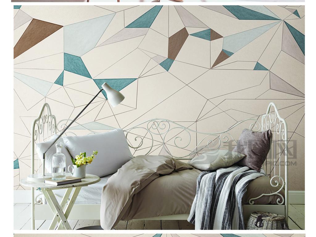 简约电视背景墙 > 手绘北欧现代简约抽象几何背景墙装饰画  版权图片
