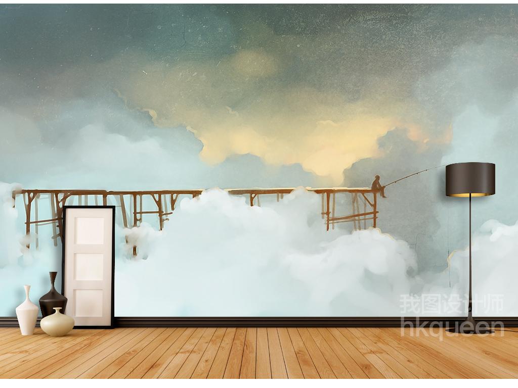 北欧简约时尚卡通手绘抽象风景背景墙