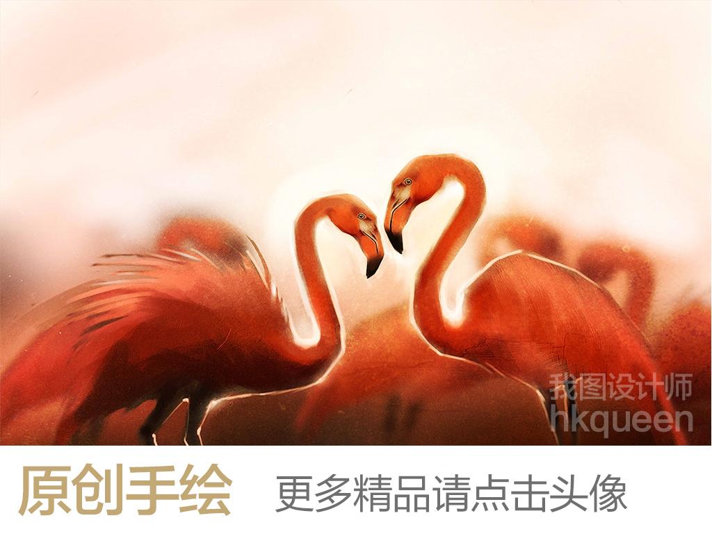 抽象红色火烈鸟手绘卡通儿童房背景墙(图片编号:)_房