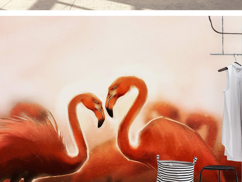 抽象红色火烈鸟手绘卡通儿童房背景墙