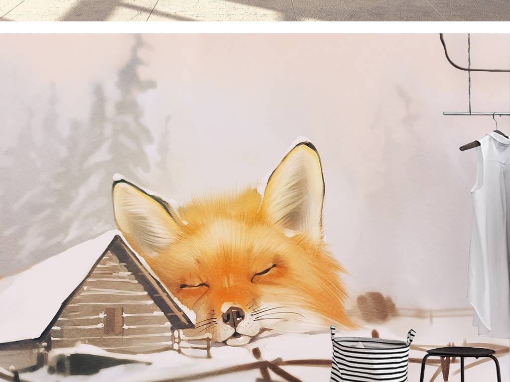 现代简约卡通手绘雪地森林小屋背景墙