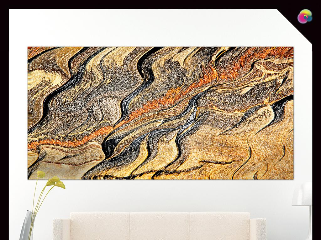 手绘美克美家欧式复古软装绘画挂画抽象油画油画肌理