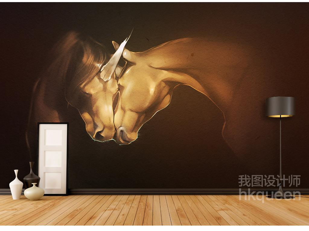 现代艺术简约马抽象复古绘画手绘背景墙