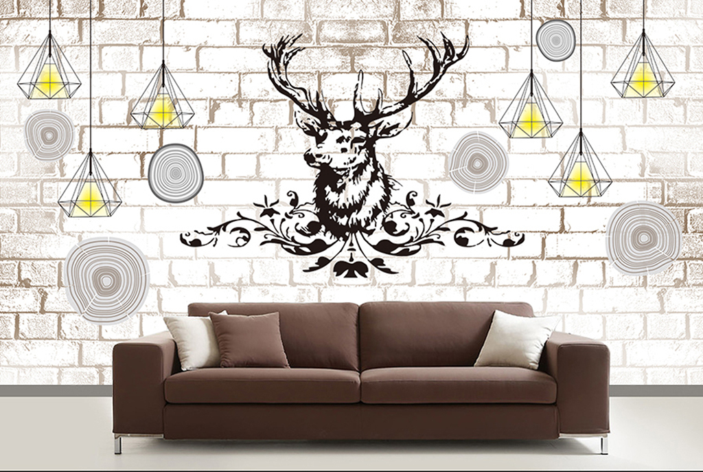 手绘麋鹿艺术背景墙装饰画